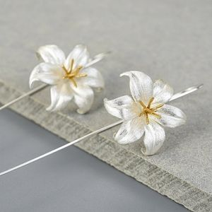 STERLING SILVER/18k Gold-Plated Lily Drop Earrings